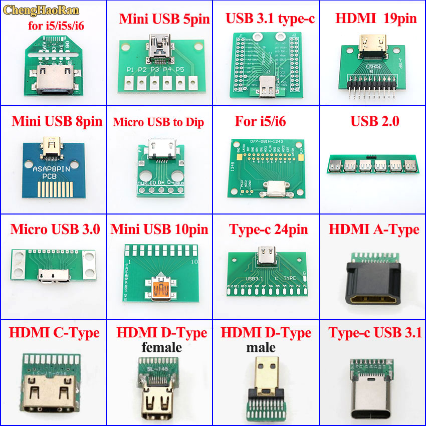 ChengHaoRan Mini Micro USB To DIP Adapter PCB Test Board USB 2.0 3.0 3.1/Type-C/HDMI For IPhone 5 5S 6 Female Connector Socket