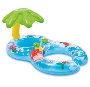 Image 4 - מתנפח תינוק לשחות טבעת הורה לילד כפול צל שחייה טבעת תינוק מתנפח סירת עם סוכך
