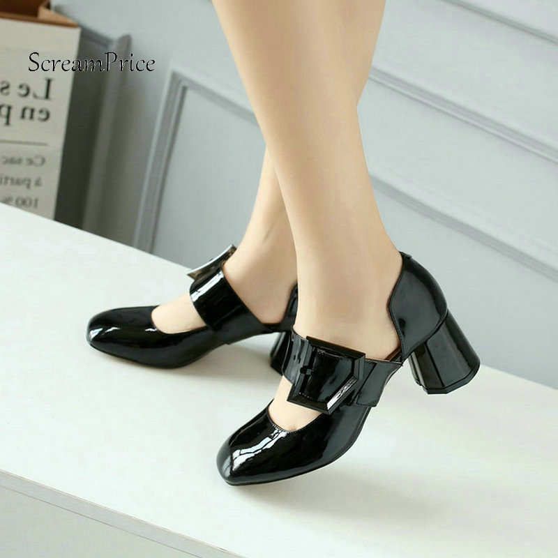 Woman Comfort Thick Heel Square Toe Genuine Leather Pumps Fashion Buckle Dress High Heel Shoes Woman Black Wine Red Yellow genuine leather thick high heel woman slingbacks pumps fashion square toe dress lazy high heel shoes ladies black white