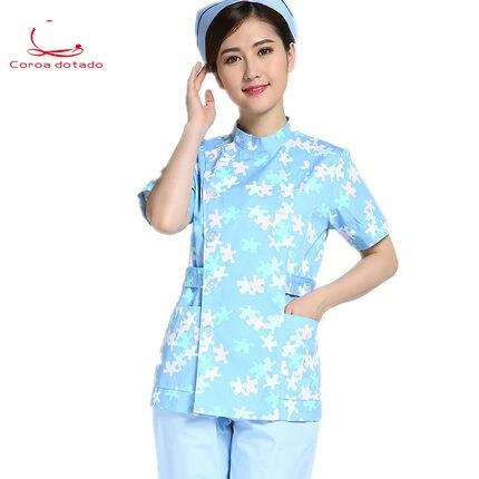 Brand Women's Split Suit Nurses Wear Short Sleeve Vertical Bias Block Flower Long Sleeve Maternity Wear Beauty Wear