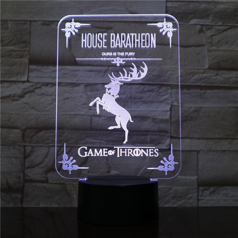 House Baratheon Logo Desk lamp bedside Touch Sensor 7 Color Changing Child Kids Ours is the Fury Game of Thrones LED Night Light in LED Night Lights from Lights Lighting