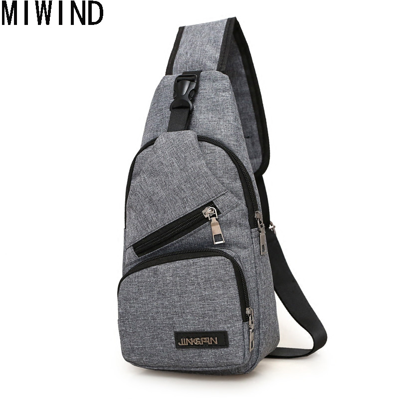 MIWIND Small Men Chest Bag Pack Single Shoulder Strap Back Bag Casual Travel Male Mini Retro Shoulder Bag TQH1293