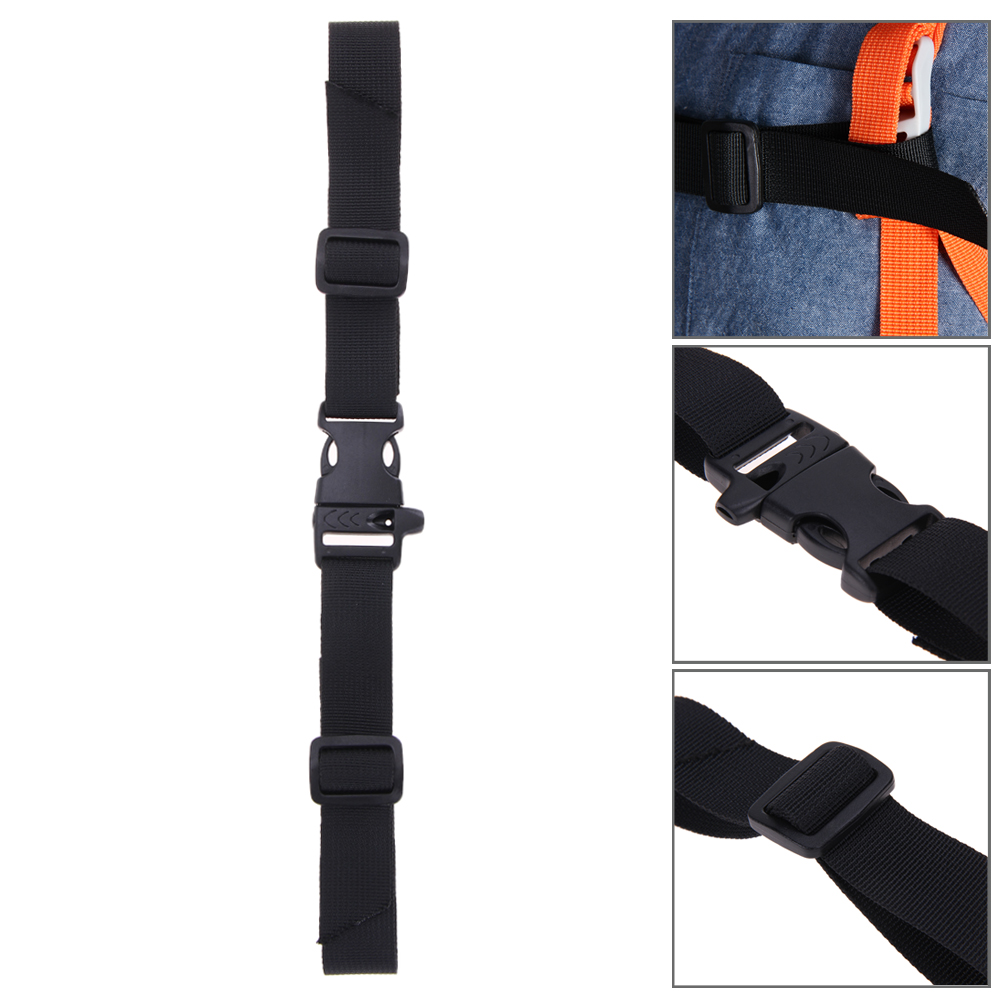 Adjustable Black Webbing Sternum Strap Release Curved Buckle Lightweight Backpack Chest Harness Open Clip Loop With Whistle 38g