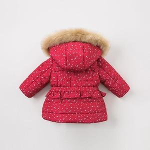 Image 3 - DBM9200 dave bella winter baby meisjes bloemen kapmantel baby gewatteerde jas kinderen hoge kwaliteit jas kinderen gewatteerde bovenkleding