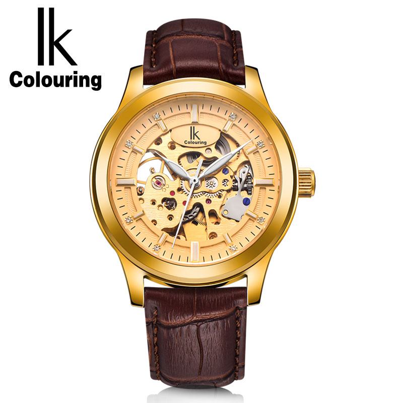IK Colouring Top Luxury Men's Gold Hollow Skeleton Watch Genuine Leather Strap Automatic Mechanical Watches Waterproof Clock New