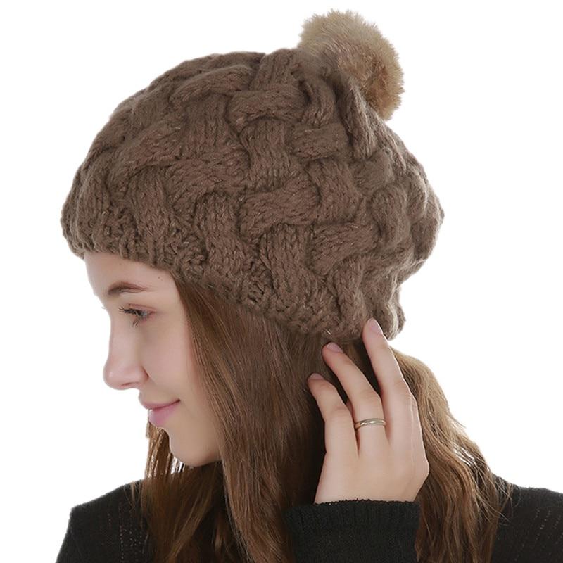 Rabbit Fur Pompoms Winter Cap Women Knitted   Beanies   Warm Cap Fashion Female Faux Fur Hat Casual   Skullies     Beanies   Slouchy Hats