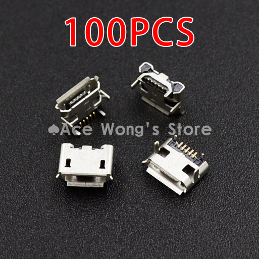 New high quality 100pcs/LOT Micro USB Connector Jack Female Type 5Pin SMT Tail Charging socket PCB Board
