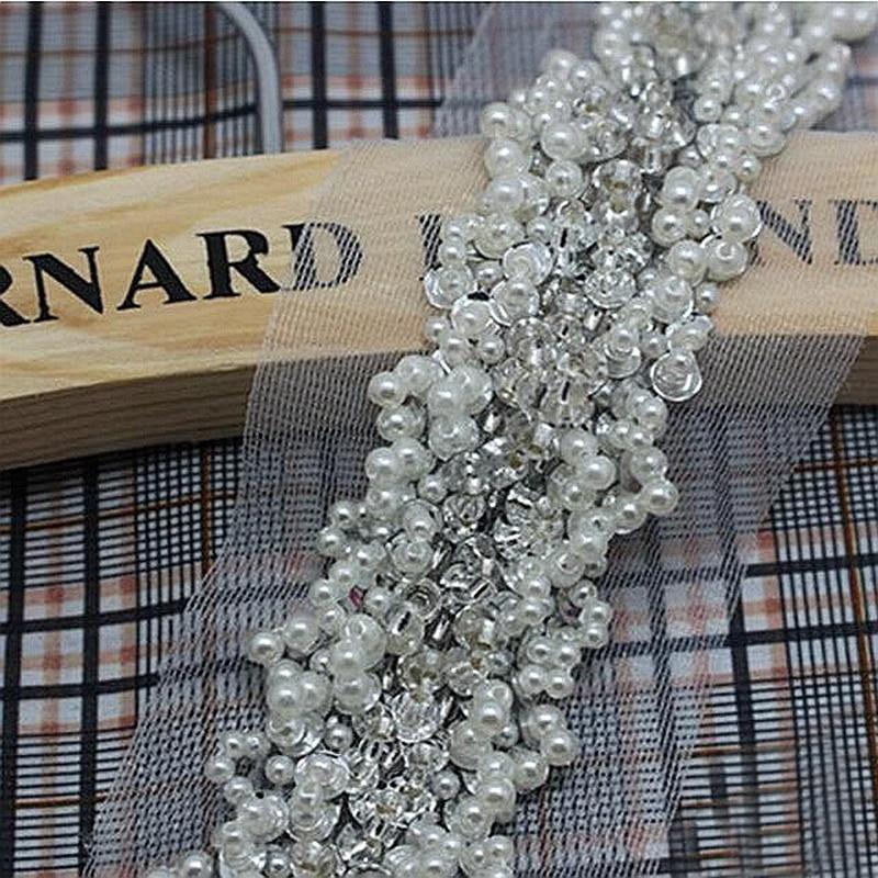 2Yd Pearl Beaded Lace Trims Organza Ribbon Belt Applique DIY Sewing Craft Cloth