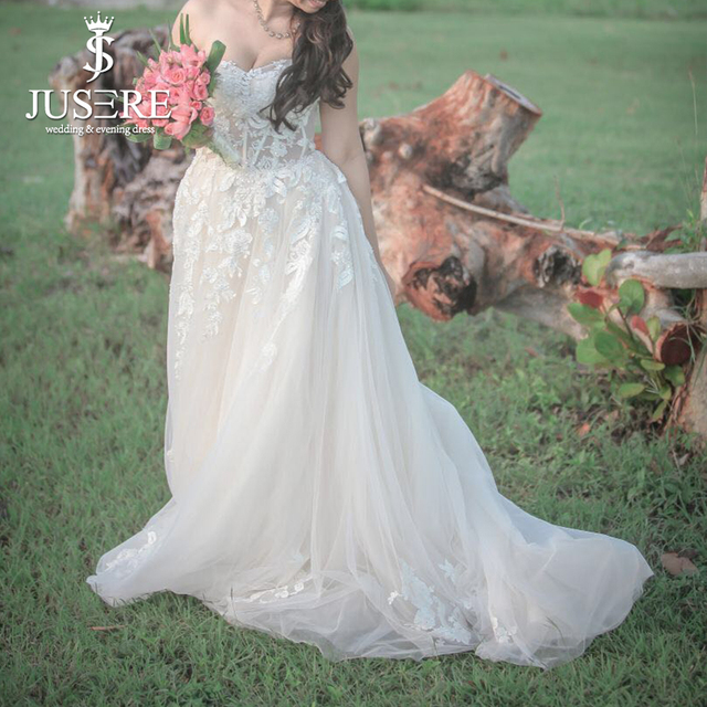 Customize Real Photo by Customer Sweetheart Illusion Bodice Appliques Beading A line Fairy Lovely Bridal Wedding Dress 2018