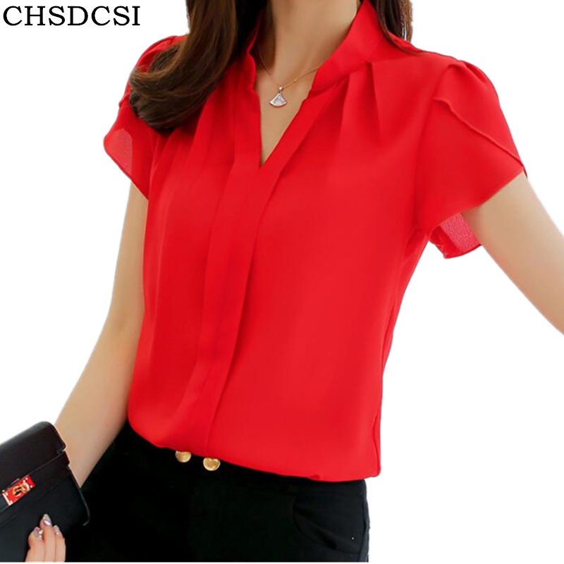 CHSDCSI Brand Women Body Shirt Blouse Short Sleeve V Neck White Red Blue Autumn Summer Clothes Female Korean Tops Work Wear ...