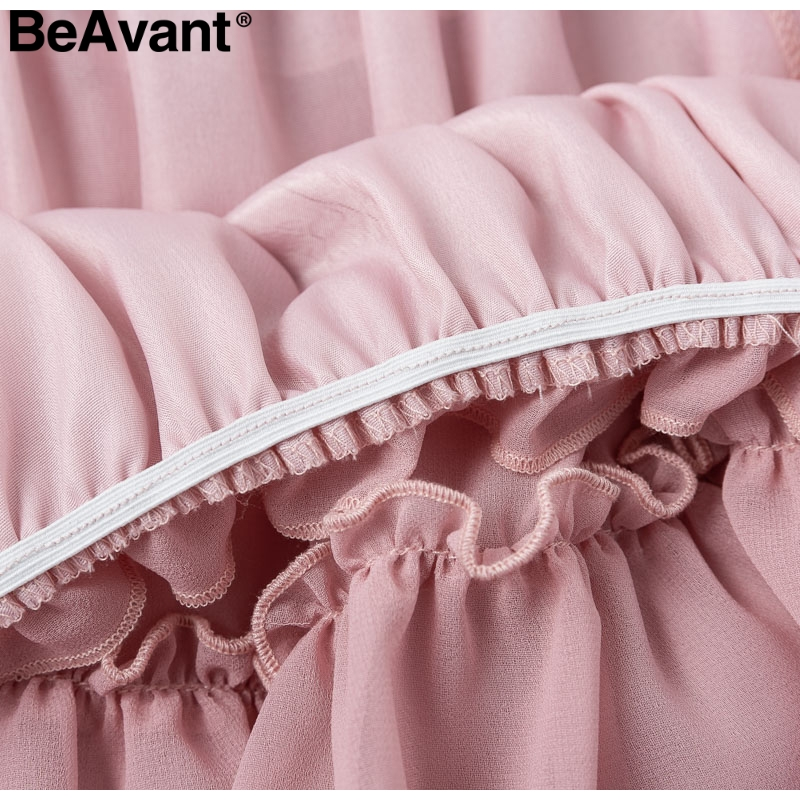HTB1EvCBaITxK1Rjy0Fgq6yovpXaF - BeAvant Off shoulder strap chiffon summer dresses Women ruffle pleated short dress pink Elegant holiday loose beach mini dress