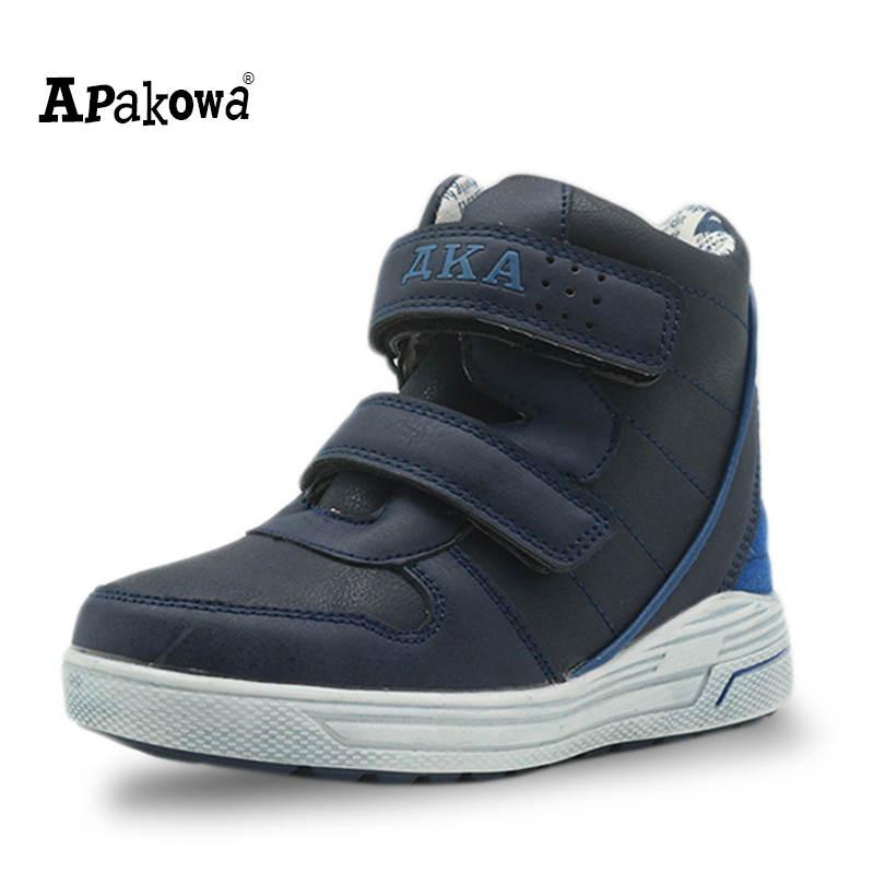 Apakowa Autumn Children's Shoes Pu Leather Boys Shoes 2017 Solid Ankle Boots With Zipper Toddler Kids Sport Shoes For Boys