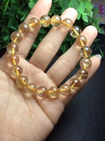 9mm High Quality Natural Golden hair Crystal Yellow Quartz Rutilated Bracelet Lucky Round Beads Fashion Jewelry Christmas Gift