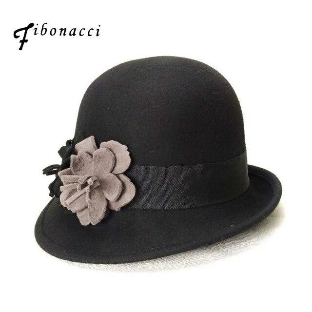 Otoño Invierno noble elegante moda femenina Fieltro Cap señoras Sombreros  de pesca mujeres borde irregular floral dc5f373ae7b