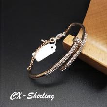 CX-Shirling Shiny Rhinestones Nail Bracelets Bangle Women Punk Crystal Rivet Color Keeping Fine Bracelet Color Keeping Quality