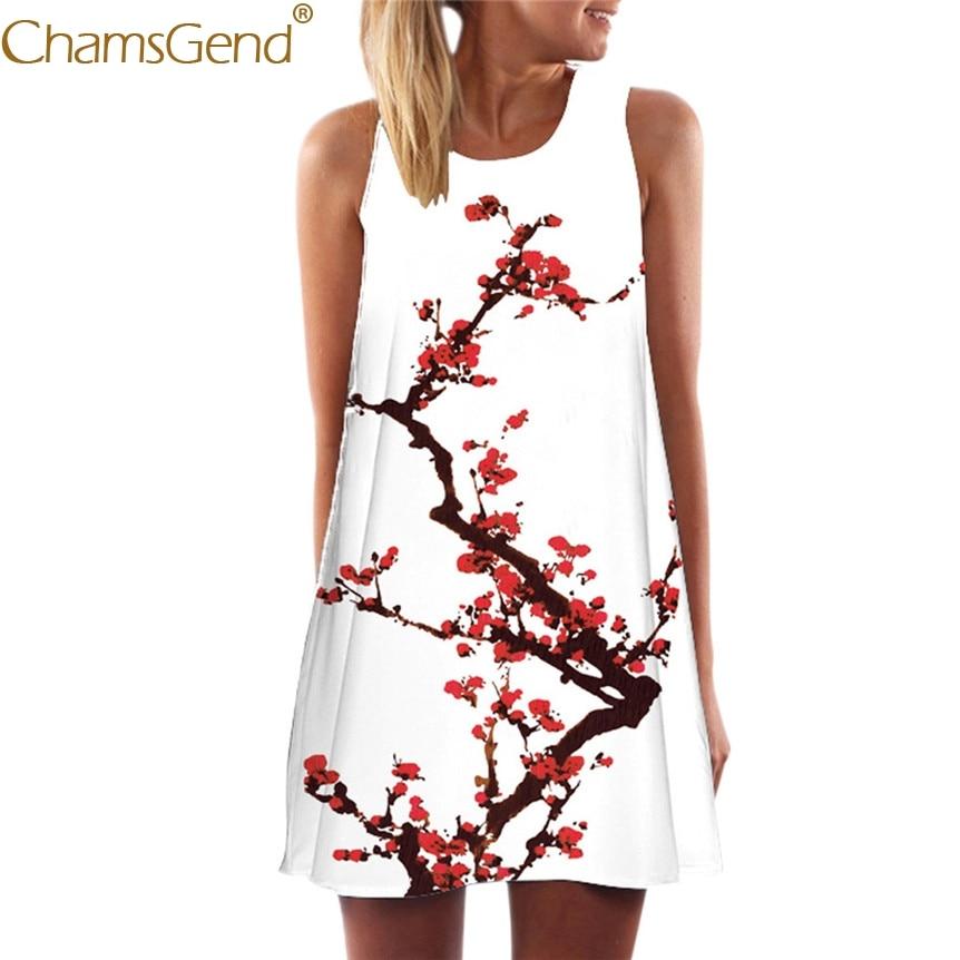Chamsgend  Women Plum Blossom Print Sleeveless Short Mini Dress 80417