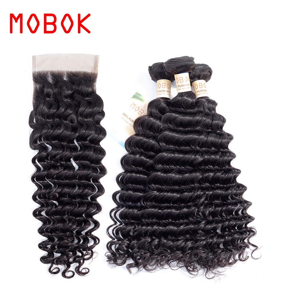 MOBOK Non Remy Natural Color Hair Deep Wave Bundles With 4*4 Lace Closure Swiss lace Mongolian Hair Weave 100% Human Hair