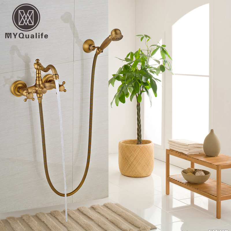 Dual Handles Wall Mounted Bathtub Shower Faucet Antique Brass Handheld Shower Mixer Taps Rotation Tub Filler floral rivet embellished zip up pu leather jacket