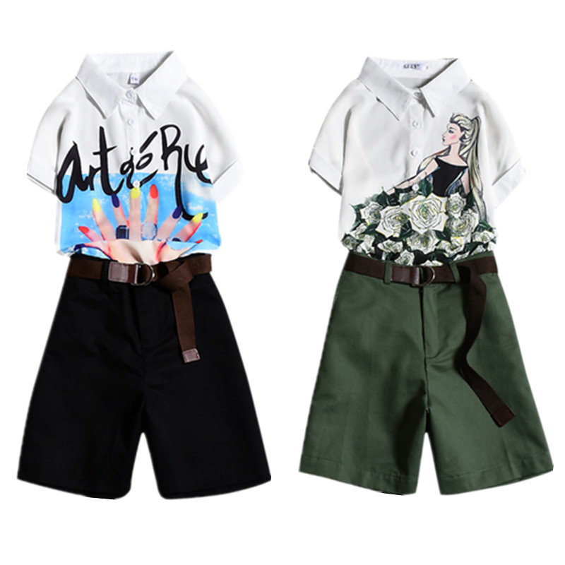 With Belt! Plus Size Women's Summer Casual Pants Sets Army Green Ladies Print Short Sleeved Blouses+Shorts Pants Suits NS861