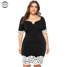 Summer Dress 2019 Plus Size Knee Length Dresses Women Sexy V Neck Applique Bodycon Slim Hip Elegant Black