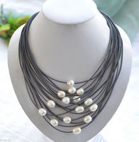 New Fashion 15 Rows Black Leather Rope & 11 13mm White Freshwater Pearl Necklace