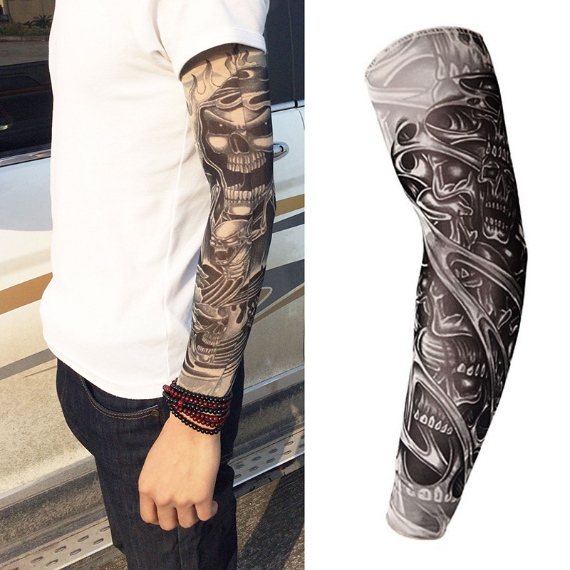 Haimeikang 1PC Fashion Tattoo Sleeves Arm Warmer Unisex UV Protection Fake Tattoo Arm Sleeve Warmer Sleeve For Men Womens