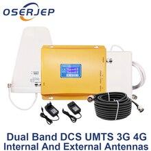 จอแสดงผล LCD UMTS 3G 2100 4G 1800 mhz Dual Band Repeater GSM 4G LTE โทรศัพท์เครื่องขยายเสียง Cellular โทรศัพท์มือถือ Booster + LPDA/เสาอากาศ