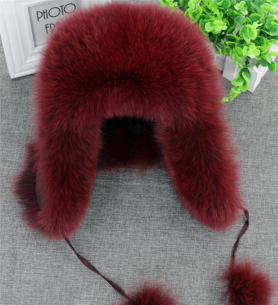 On Sale 100% Real Fox fur Women's Russian Ushanka Aviator trapper snow skiing Hat caps earflap winter raccoon fur Bomber hat 16