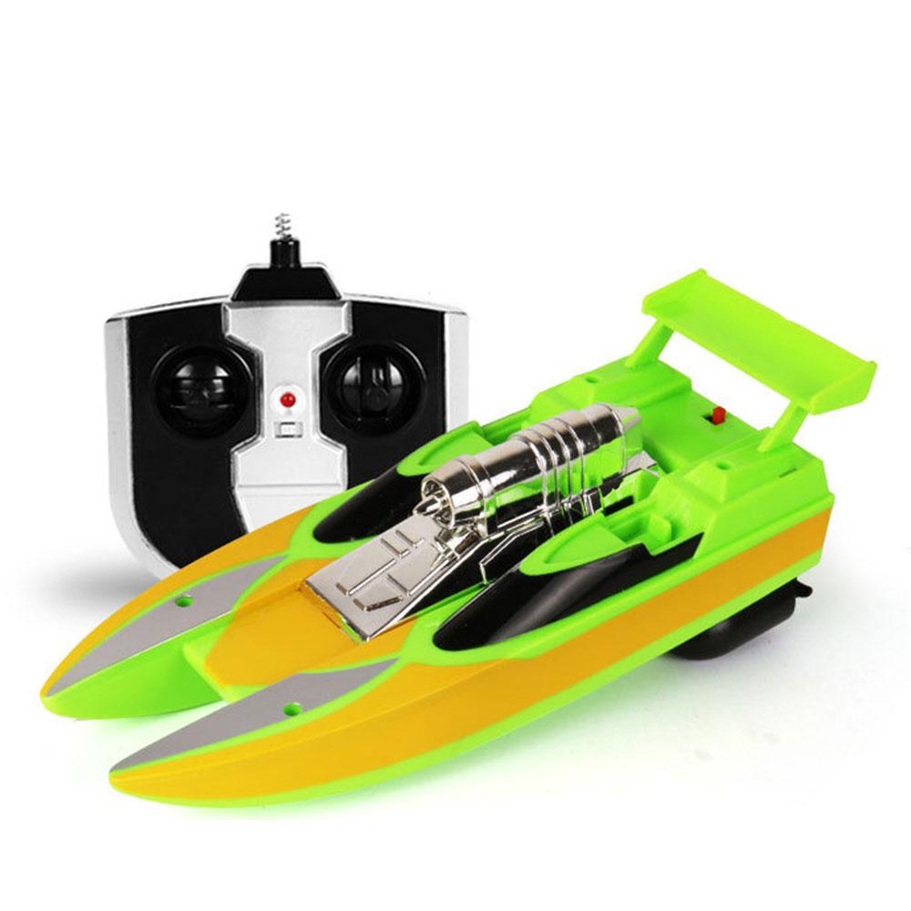 Скоростная лодка гоночная лодка на дистанционном управлении лодка пластиковая многоцветная Rc речная бассейн на открытом воздухе модная скоростной катер р/у гоночная игрушка - Цвет: cyan