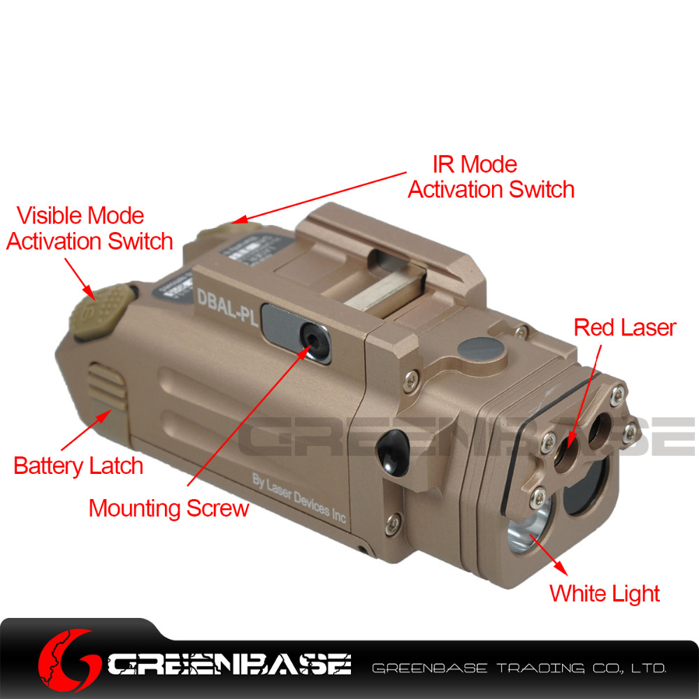 Greenbase DBAL-PL Tactical IR Laser/IR Light/Strobe/Red laser 400 Lumens LED Flashlight For Tactical Rifles Hunting Weaponlight hot sale and new arrival tactical dbal pl led ir red laser for hunting bwl 012