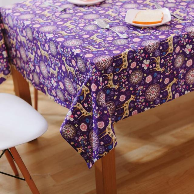 Ordinaire Purple Deer Tablecloths Fantasy Christmas Rectangle Table Cover For Party  Wedding Holiday Toalha De Mesa Nappe