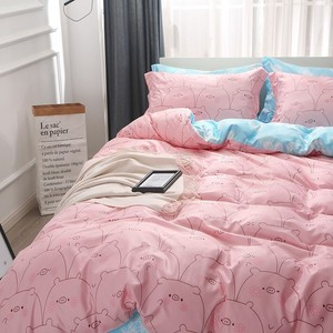 Image 4 - 지점 홈 섬유 킹 퀸 싱글 침구 러블리 돼지 핑크 이불 커버 시트 베개 케이스 소녀 아이 십대 침대 시트 세트