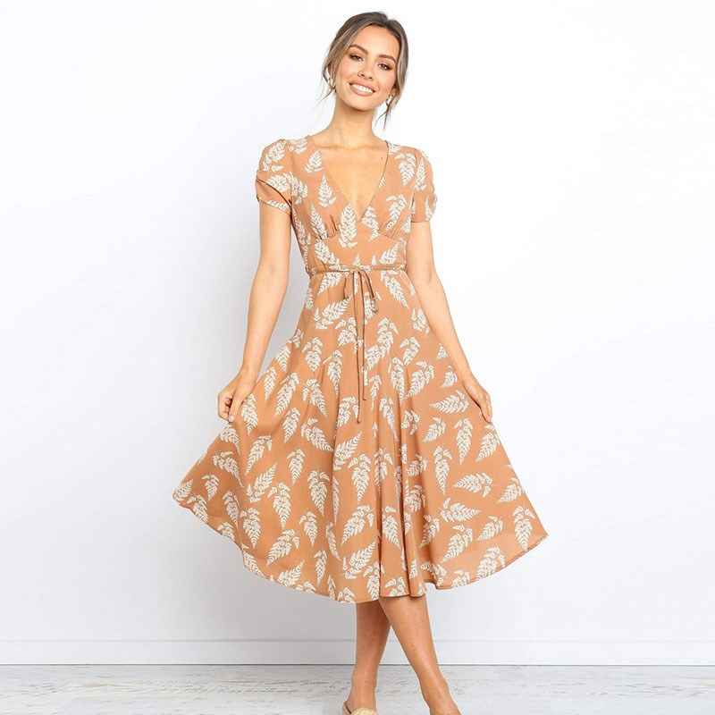 DeRuiLaDy New tropical Leaves Print Summer Women Mid-Calf <font><b>Dress</b></font> <font><b>Sexy</b></font> <font><b>V</b></font> <font><b>Neck</b></font> Short Sleeve Beach <font><b>Dresses</b></font> Ladies Casual <font><b>Dress</b></font> image