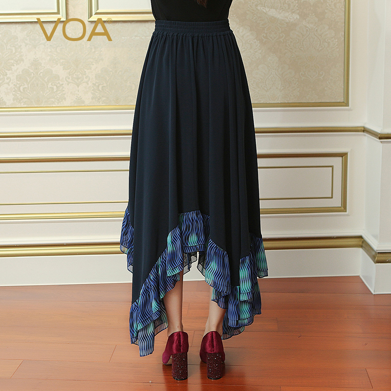 66db5ff05a6 VOA 2017 Fall Deep Navy Blue Brief Solid Plus Size Casual Asymmetrical Skirt  Women Splicing Maxi Long Pleated Skirt CLA02701-in Skirts from Women s  Clothing ...