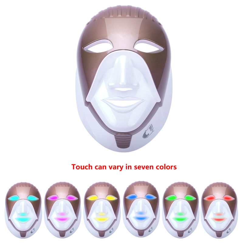 7 Colors Electric LED Facial Mask With Neck Skin Rejuvenation Whitening Blemish Anti Acne Wrinkle Beauty Treatment Home Use