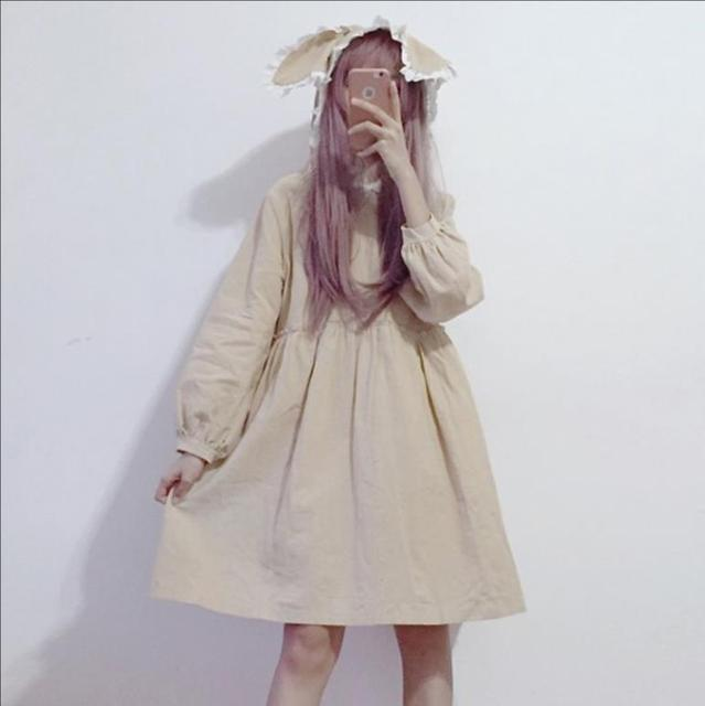 2018 japanese soft sister lace with cap dress autumn women kawaii