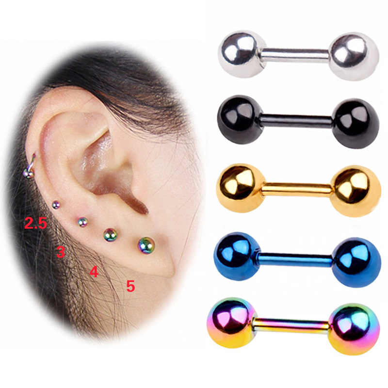 1 Piece Round Samll 3mm 4mm 5mm Barbell Stud Earrings Women Body Piercing Dumbbell Earrings Titanium Anti Allergy Body Jewelry