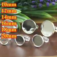 100pcs 10 20mm All Size Round Pad Ring Blank Cameo Tray Silver Plated Ring Bases Setting