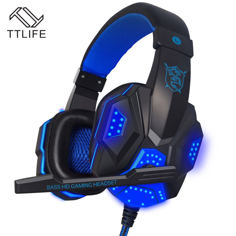 TTLIFE PC780 Game Headphone HD Bass Stereo Surrounded Gaming Headset Headband Earphone With Mic Light LED for Computer PC Gamer  plextone pc780 led light gaming headphone usb game headset pc headphone with mic for computer subwoofer stereo wired earphone
