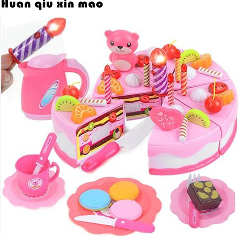 80Pcs Pretend Play Cutting Birthday Cake Kitchen Educational Tools Toy Food Toy Kitchen For Children Play Food Tea Set