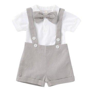 8cfc767e7 Puseky bebé recién nacido de verano de los niños ropa de manga corta traje  de corbata mameluco pantalones de 2 pc bebé niños desgaste de los niños  traje