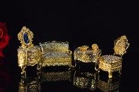 Qifu создать золото полный бриллиантами мини-мебель, декор дома