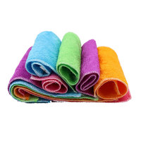 10Pcs Mixed Color Magic Anti Grease Scouring Pad Bamboo Fiber Dish Cloths Rags Washing Towels Kitchen