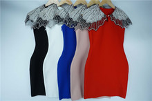 7 Color New Fashion Vestido Celebrity Women Dress Beading Sexy Bodycon Bandage Night Club Party Dresses цена