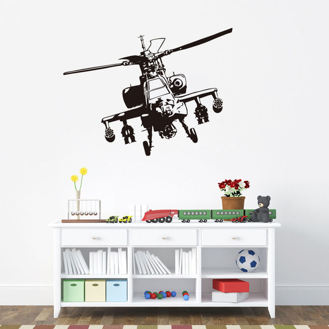 Dctop Waterproof Military Helicopter Vinyl Wall Sticker Airplane