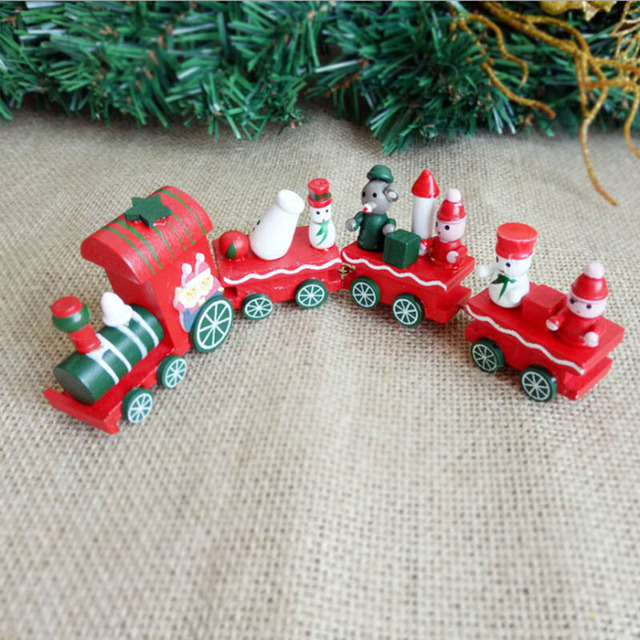 cute little wood christmas train toy ornament decoration santa claus snowman navidad natal train decors best