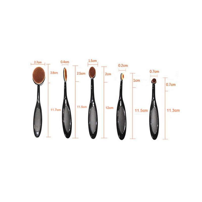5 Pcs Foundation Beauty Eyeshadow Makeup Brushes Set Kit Accessories Cosmetic Oval Toothbrush Blush Powder