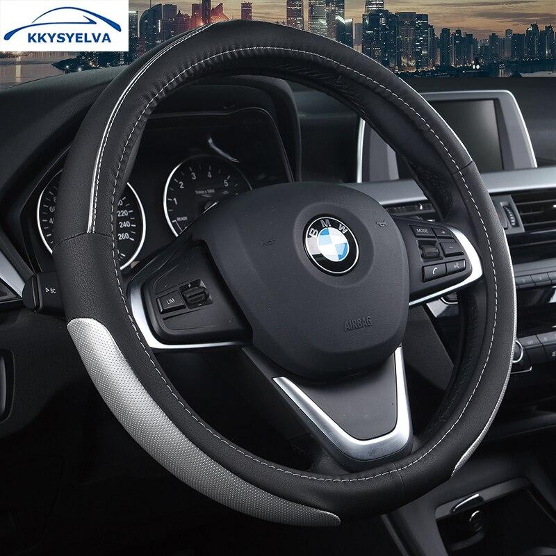 KKYSYELVA 38cm Auto Steering-Wheel Black Car Styling Steering Wheel Cover Leather Steering Covers Car Interior Accessories
