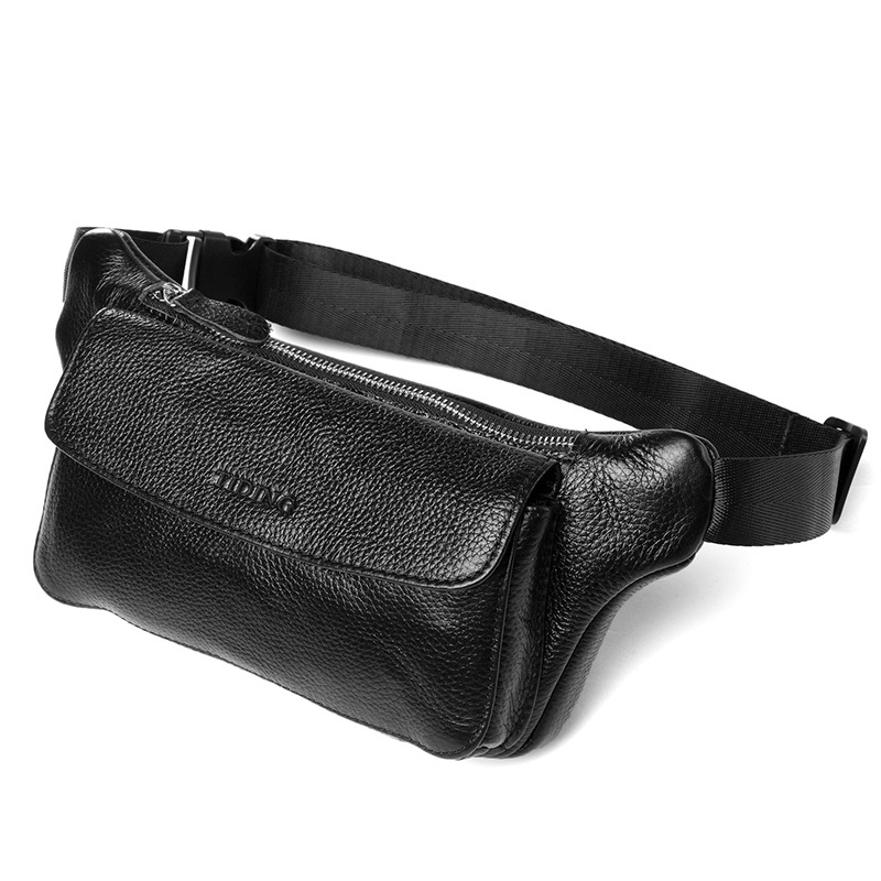 ФОТО TIDING Brand New Waist Bag Genuine Leather Fanny Pack Hip Pouch Hiking For Men Women Bag 3090