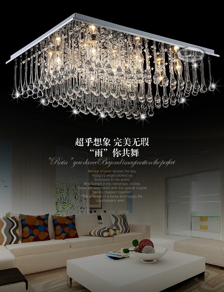 Crystal Ceiling LightPlafonnier Led Moderne Lampara de techo E14 Crystal LED Lighing Fixture Home Lights Remote Controller